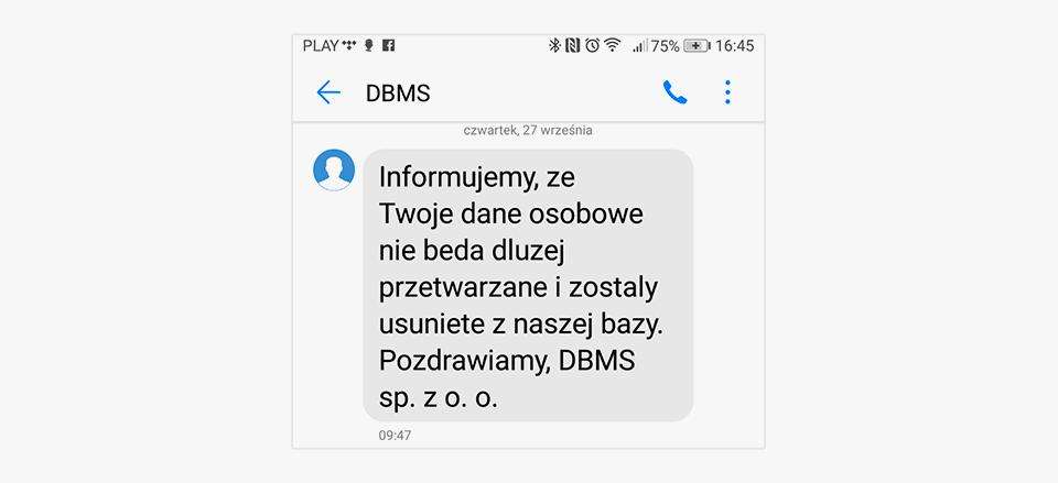 Potwierdzenie usunięcia danych w DBMS